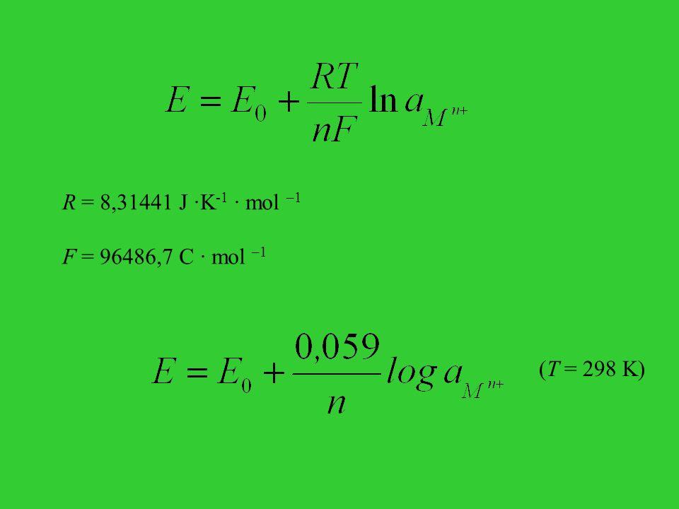 (T = 298 K) R = 8,31441 J ·K -1 · mol –1 F = 96486,7 C · mol –1