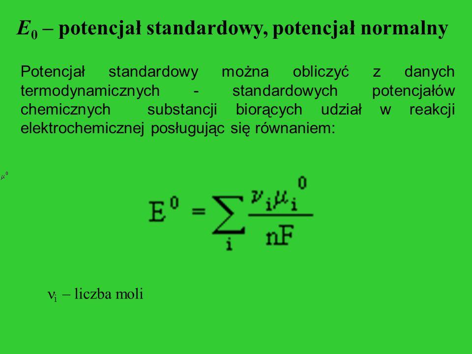 E 0 – potencjał standardowy, potencjał normalny Potencjał standardowy można obliczyć z danych termodynamicznych - standardowych potencjałów chemicznyc