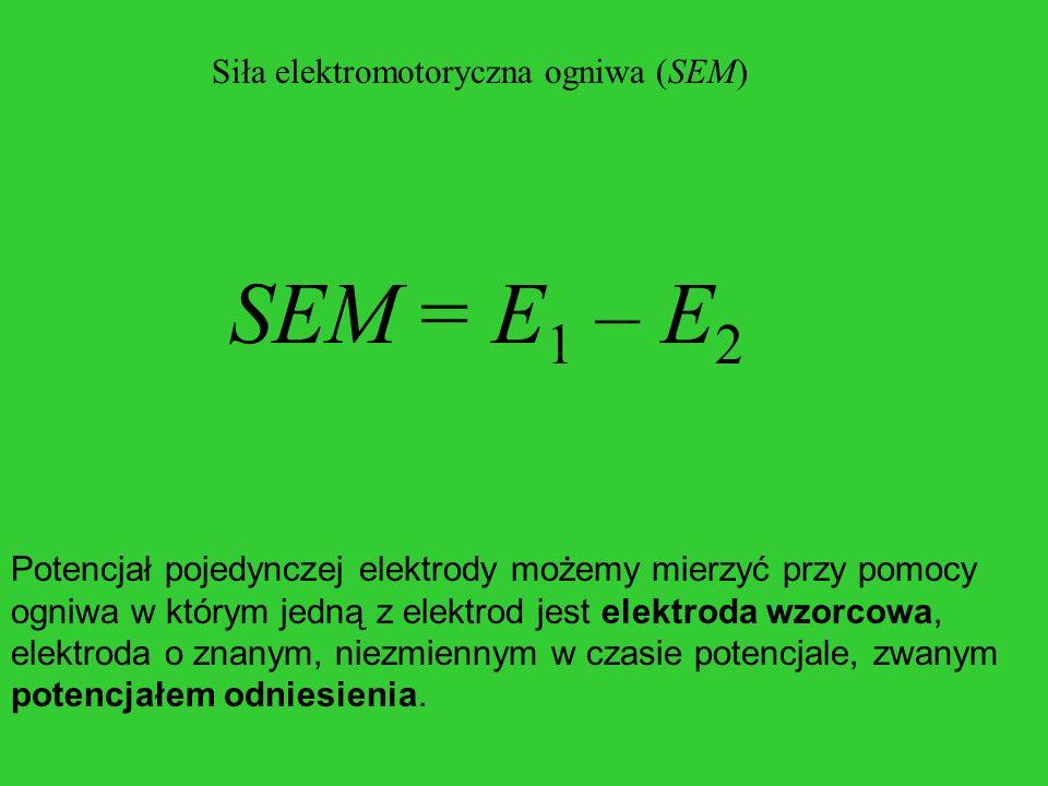 Siła elektromotoryczna ogniwa (SEM) SEM = E 1 – E 2 Potencjał pojedynczej elektrody możemy mierzyć przy pomocy ogniwa w którym jedną z elektrod jest e