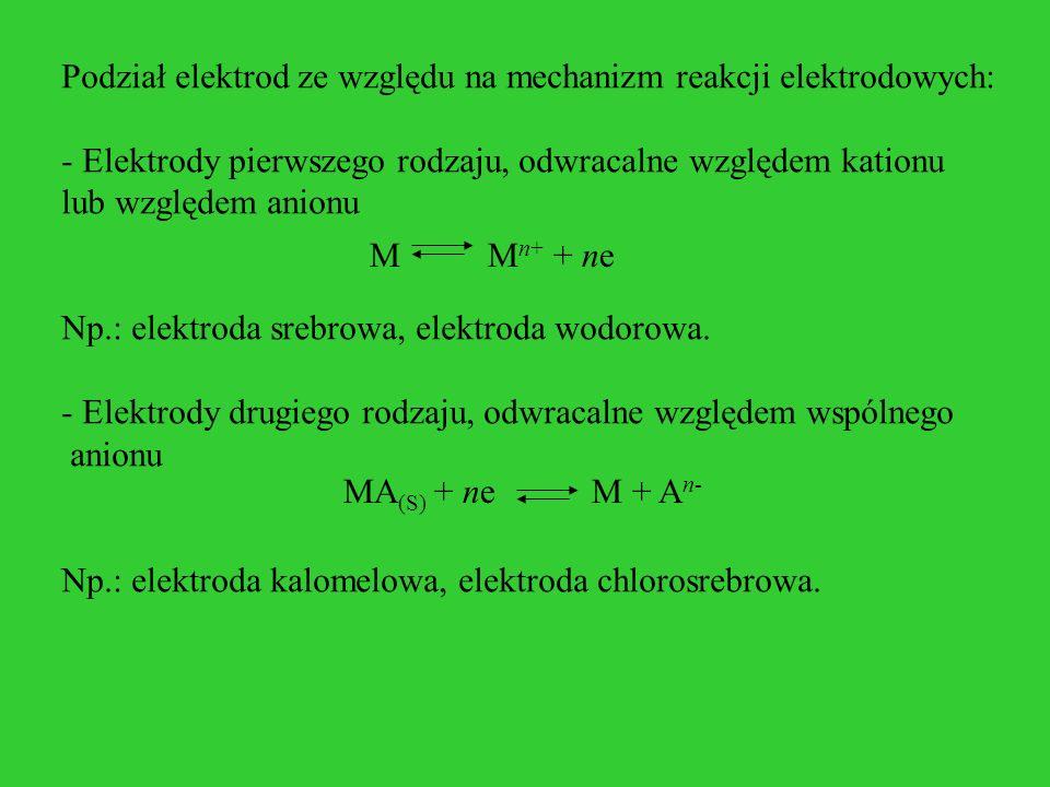 Podział elektrod ze względu na mechanizm reakcji elektrodowych: - Elektrody pierwszego rodzaju, odwracalne względem kationu lub względem anionu Np.: e