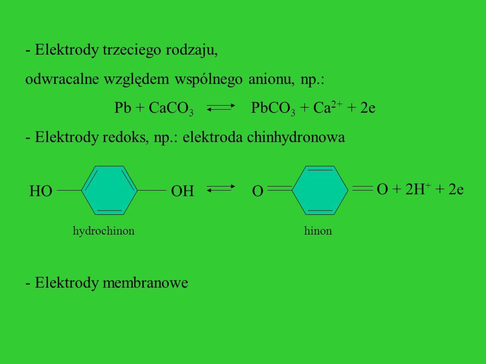 - Elektrody trzeciego rodzaju, odwracalne względem wspólnego anionu, np.: Pb + CaCO 3 PbCO 3 + Ca 2+ + 2e - Elektrody redoks, np.: elektroda chinhydro
