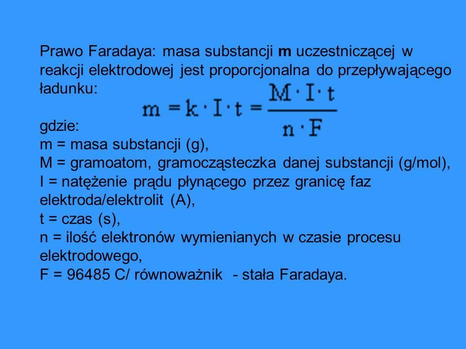 Prawo Faradaya: masa substancji m uczestniczącej w reakcji elektrodowej jest proporcjonalna do przepływającego ładunku: gdzie: m = masa substancji (g)