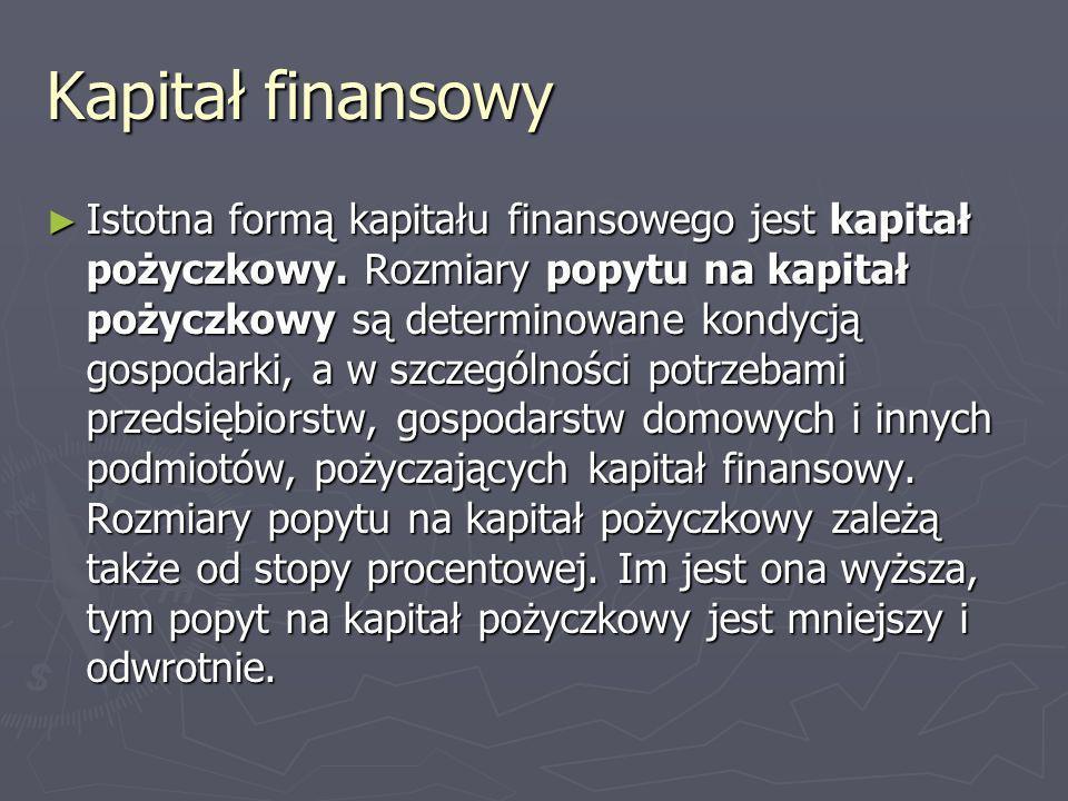Kapitał finansowy Istotna formą kapitału finansowego jest kapitał pożyczkowy. Rozmiary popytu na kapitał pożyczkowy są determinowane kondycją gospodar