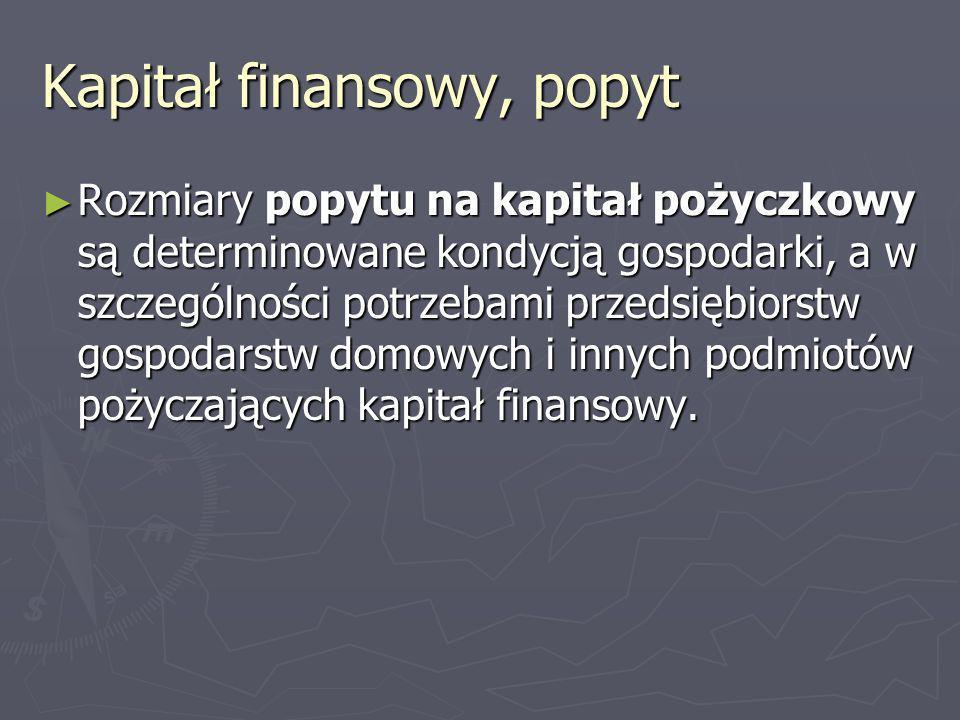 Kapitał finansowy, popyt Rozmiary popytu na kapitał pożyczkowy są determinowane kondycją gospodarki, a w szczególności potrzebami przedsiębiorstw gosp