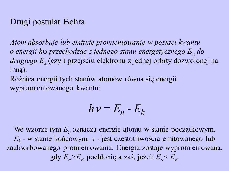 Drugi postulat Bohra Atom absorbuje lub emituje promieniowanie w postaci kwantu o energii h przechodząc z jednego stanu energetycznego E n do drugiego