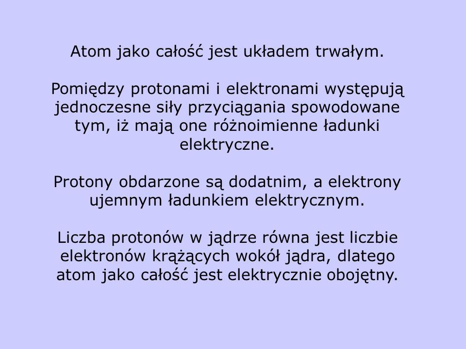 Atom jako całość jest układem trwałym. Pomiędzy protonami i elektronami występują jednoczesne siły przyciągania spowodowane tym, iż mają one różnoimie