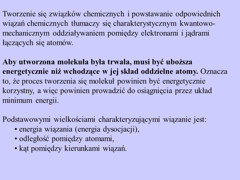 Tworzenie się związków chemicznych i powstawanie odpowiednich wiązań chemicznych tłumaczy się charakterystycznym kwantowo- mechanicznym oddziaływaniem