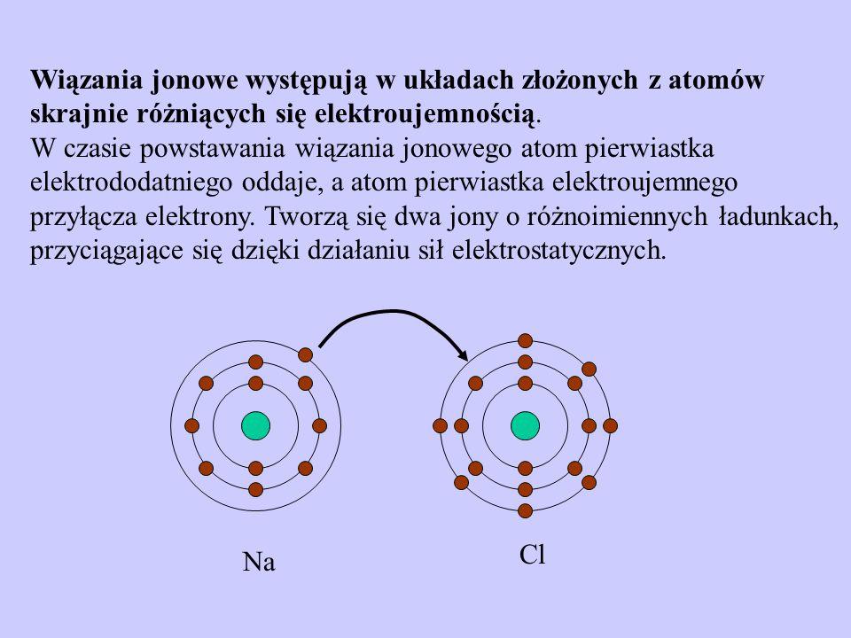Wiązania jonowe występują w układach złożonych z atomów skrajnie różniących się elektroujemnością. W czasie powstawania wiązania jonowego atom pierwia