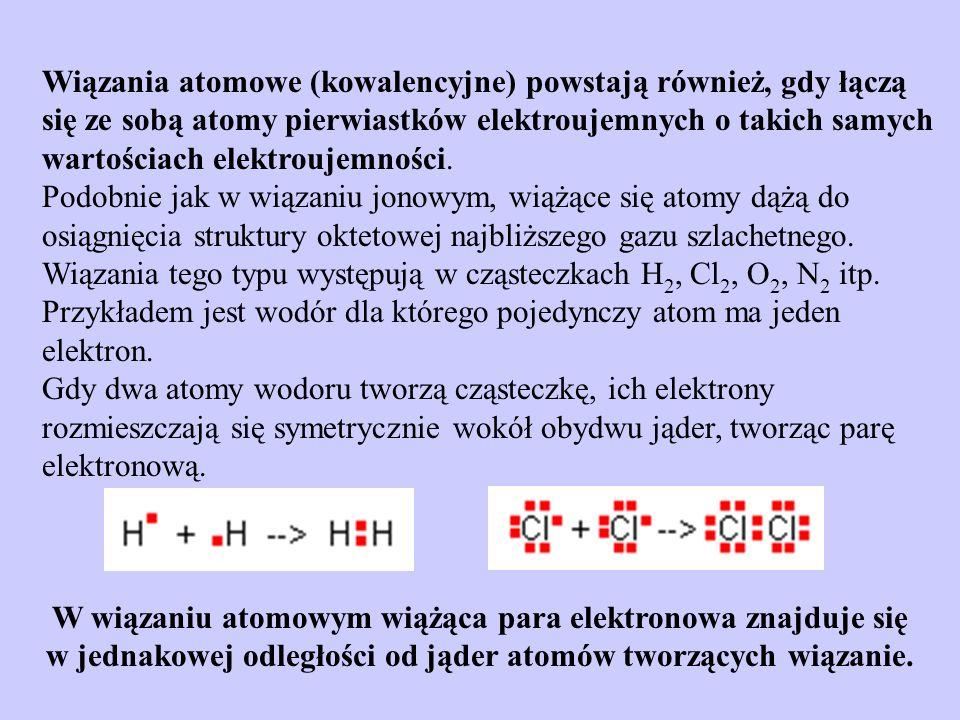 Wiązania atomowe (kowalencyjne) powstają również, gdy łączą się ze sobą atomy pierwiastków elektroujemnych o takich samych wartościach elektroujemnośc