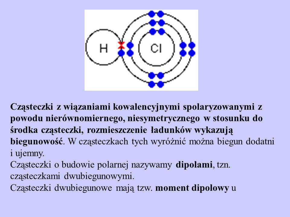 Cząsteczki z wiązaniami kowalencyjnymi spolaryzowanymi z powodu nierównomiernego, niesymetrycznego w stosunku do środka cząsteczki, rozmieszczenie ład