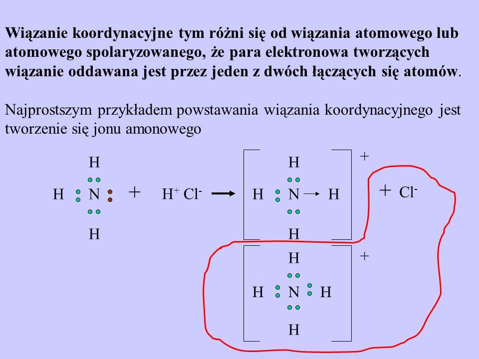 Wiązanie koordynacyjne tym różni się od wiązania atomowego lub atomowego spolaryzowanego, że para elektronowa tworzących wiązanie oddawana jest przez