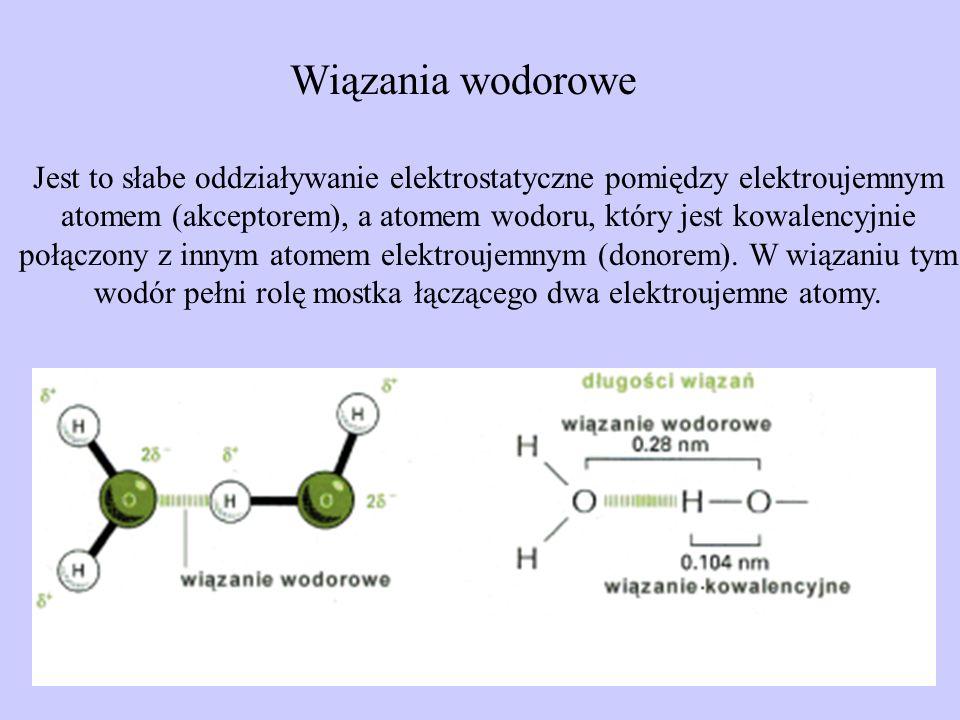 Wiązania wodorowe Jest to słabe oddziaływanie elektrostatyczne pomiędzy elektroujemnym atomem (akceptorem), a atomem wodoru, który jest kowalencyjnie