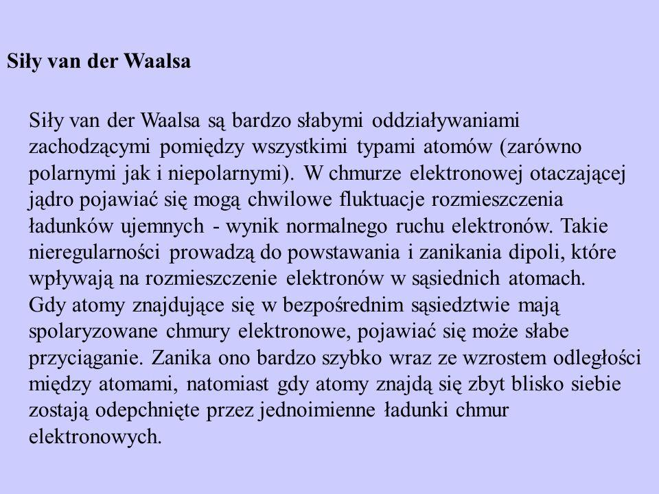 Siły van der Waalsa Siły van der Waalsa są bardzo słabymi oddziaływaniami zachodzącymi pomiędzy wszystkimi typami atomów (zarówno polarnymi jak i niep