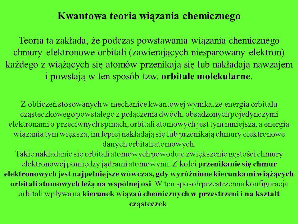 Kwantowa teoria wiązania chemicznego Teoria ta zakłada, że podczas powstawania wiązania chemicznego chmury elektronowe orbitali (zawierających niespar