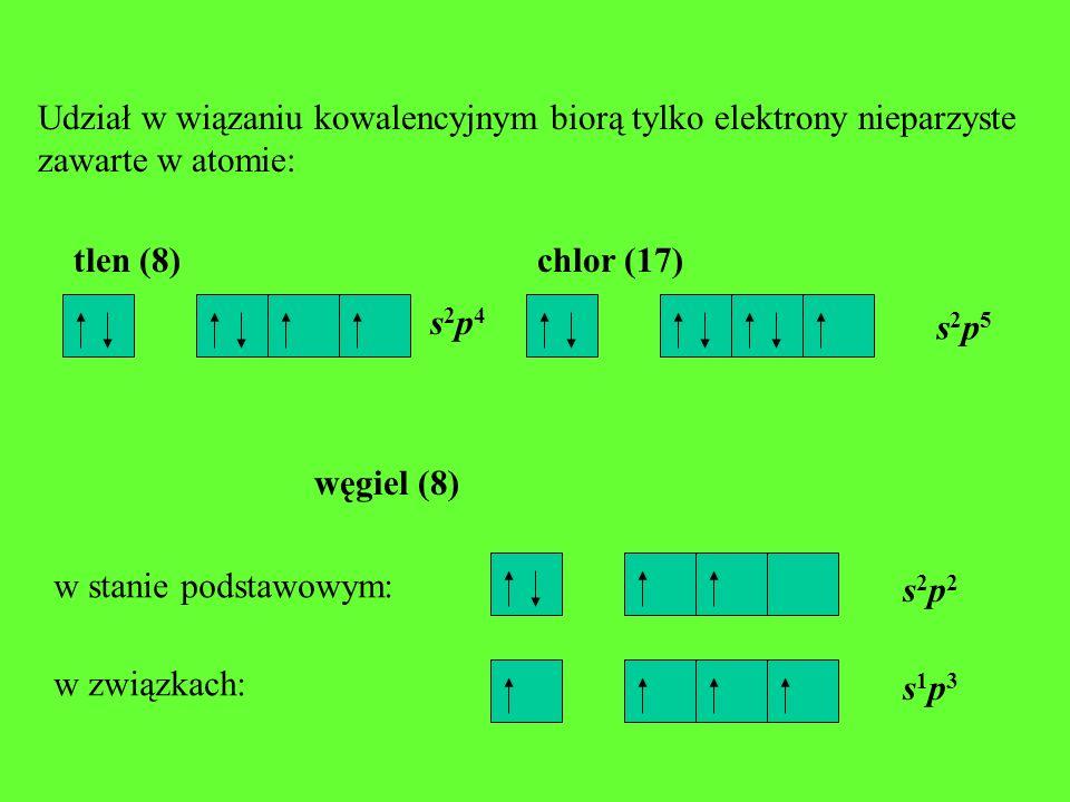 Udział w wiązaniu kowalencyjnym biorą tylko elektrony nieparzyste zawarte w atomie: tlen (8) s2p4s2p4 chlor (17) s2p5s2p5 węgiel (8) s2p2s2p2 s1p3s1p3