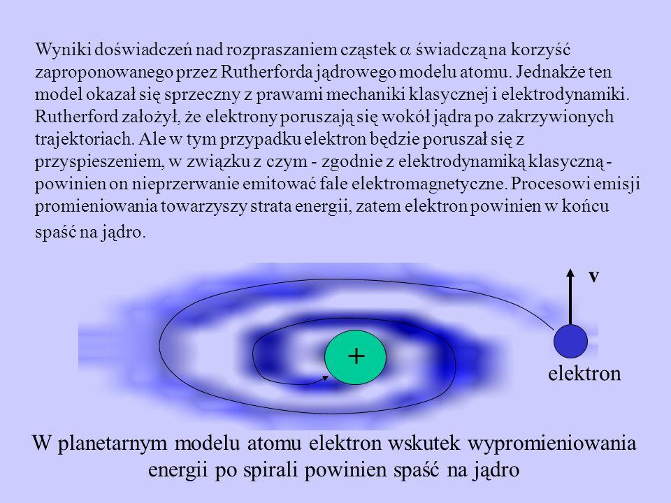 Wyniki doświadczeń nad rozpraszaniem cząstek świadczą na korzyść zaproponowanego przez Rutherforda jądrowego modelu atomu. Jednakże ten model okazał s