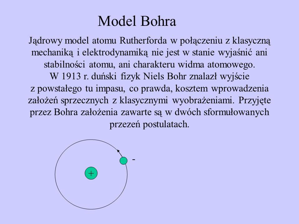 Model Bohra Jądrowy model atomu Rutherforda w połączeniu z klasyczną mechaniką i elektrodynamiką nie jest w stanie wyjaśnić ani stabilności atomu, ani