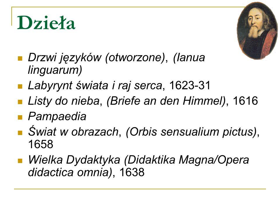 Dzieła Drzwi języków (otworzone), (Ianua linguarum) Labyrynt świata i raj serca, 1623-31 Listy do nieba, (Briefe an den Himmel), 1616 Pampaedia Świat