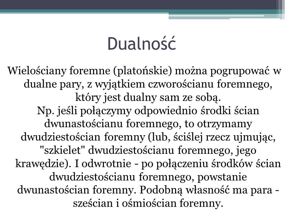 Dualność Wielościany foremne (platońskie) można pogrupować w dualne pary, z wyjątkiem czworościanu foremnego, który jest dualny sam ze sobą. Np. jeśli