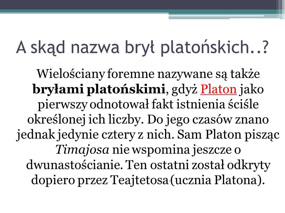 A skąd nazwa brył platońskich..? Wielościany foremne nazywane są także bryłami platońskimi, gdyż Platon jako pierwszy odnotował fakt istnienia ściśle