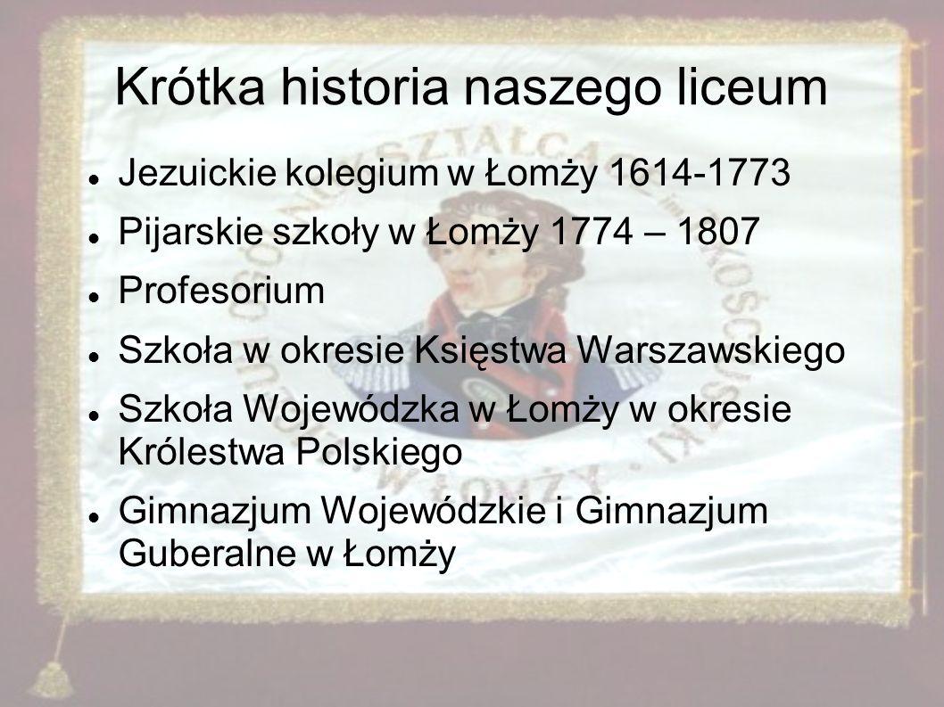 Krótka historia naszego liceum Jezuickie kolegium w Łomży 1614-1773 Pijarskie szkoły w Łomży 1774 – 1807 Profesorium Szkoła w okresie Księstwa Warszaw