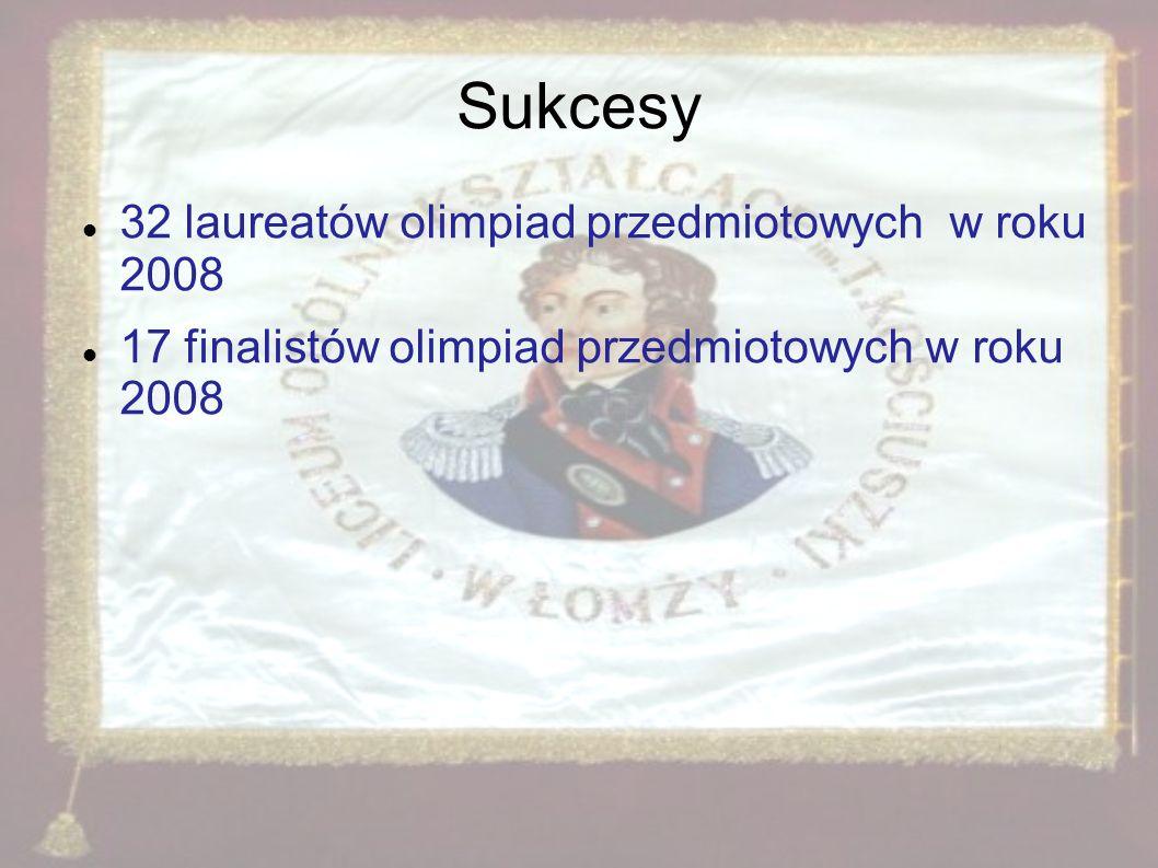 Sukcesy 32 laureatów olimpiad przedmiotowych w roku 2008 17 finalistów olimpiad przedmiotowych w roku 2008