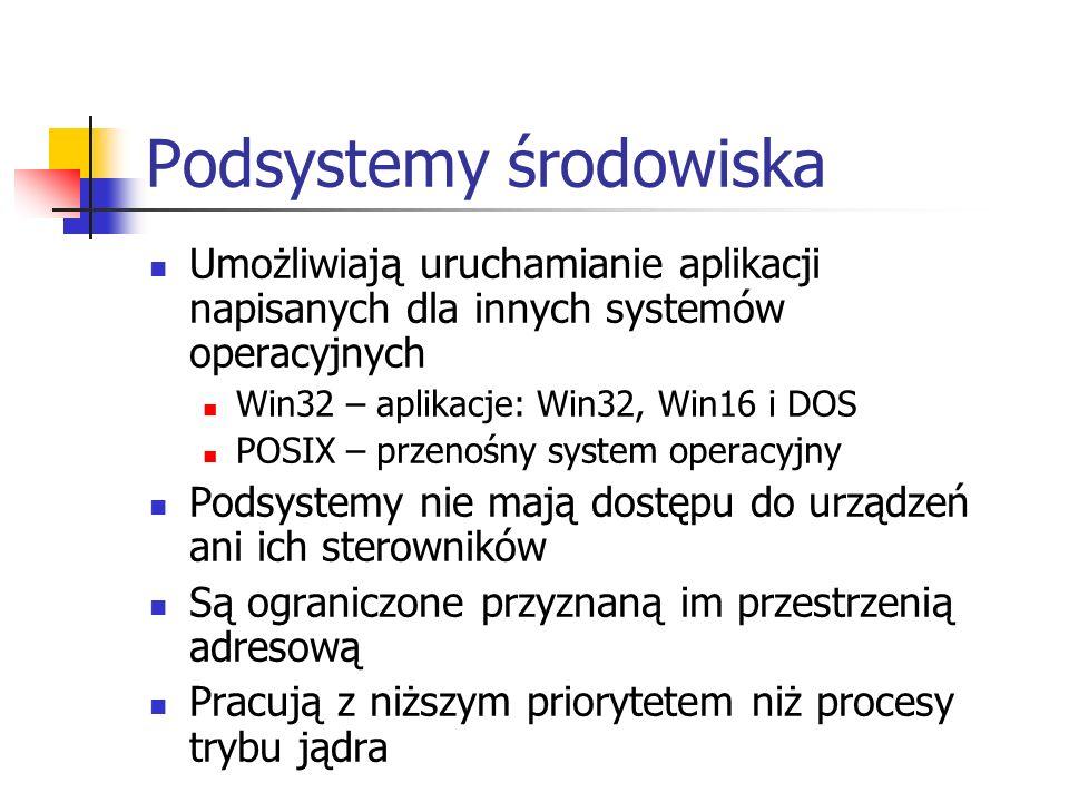 Podsystemy środowiska Umożliwiają uruchamianie aplikacji napisanych dla innych systemów operacyjnych Win32 – aplikacje: Win32, Win16 i DOS POSIX – prz