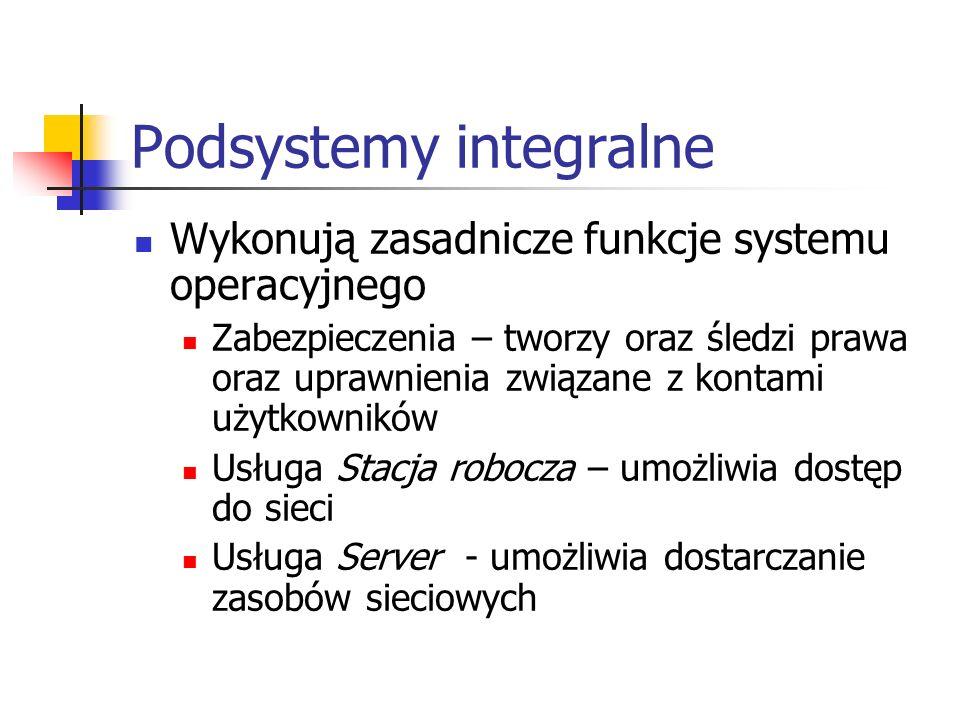 Podsystemy integralne Wykonują zasadnicze funkcje systemu operacyjnego Zabezpieczenia – tworzy oraz śledzi prawa oraz uprawnienia związane z kontami u
