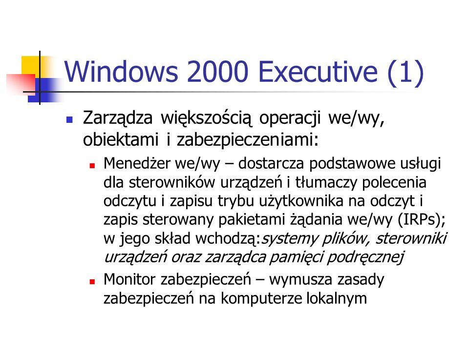 Windows 2000 Executive (1) Zarządza większością operacji we/wy, obiektami i zabezpieczeniami: Menedżer we/wy – dostarcza podstawowe usługi dla sterown