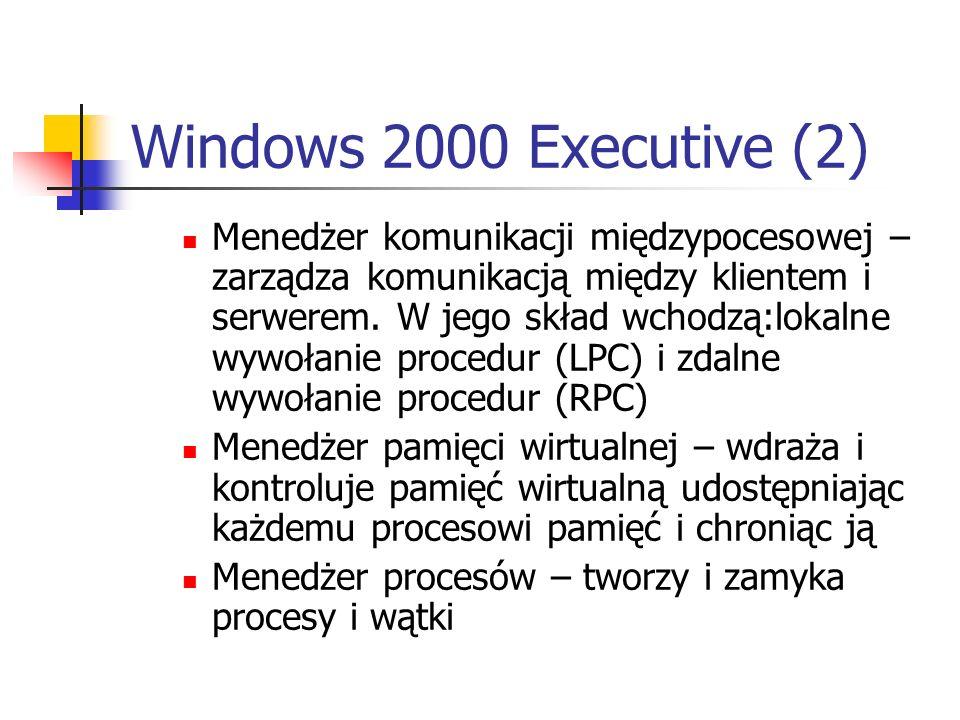 Windows 2000 Executive (2) Menedżer komunikacji międzypocesowej – zarządza komunikacją między klientem i serwerem. W jego skład wchodzą:lokalne wywoła