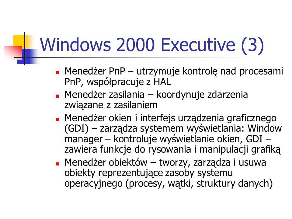 Windows 2000 Executive (3) Menedżer PnP – utrzymuje kontrolę nad procesami PnP, współpracuje z HAL Menedżer zasilania – koordynuje zdarzenia związane