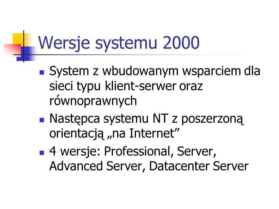 Windows 2000 Executive (1) Zarządza większością operacji we/wy, obiektami i zabezpieczeniami: Menedżer we/wy – dostarcza podstawowe usługi dla sterowników urządzeń i tłumaczy polecenia odczytu i zapisu trybu użytkownika na odczyt i zapis sterowany pakietami żądania we/wy (IRPs); w jego skład wchodzą:systemy plików, sterowniki urządzeń oraz zarządca pamięci podręcznej Monitor zabezpieczeń – wymusza zasady zabezpieczeń na komputerze lokalnym