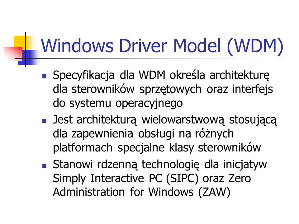 Windows Driver Model (WDM) Specyfikacja dla WDM określa architekturę dla sterowników sprzętowych oraz interfejs do systemu operacyjnego Jest architekt