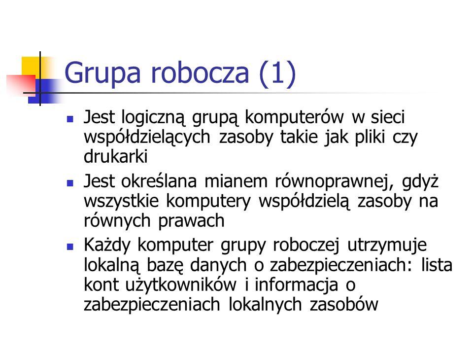 Grupa robocza (1) Jest logiczną grupą komputerów w sieci współdzielących zasoby takie jak pliki czy drukarki Jest określana mianem równoprawnej, gdyż