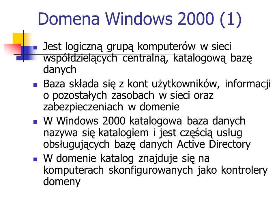 Domena Windows 2000 (1) Jest logiczną grupą komputerów w sieci współdzielących centralną, katalogową bazę danych Baza składa się z kont użytkowników,