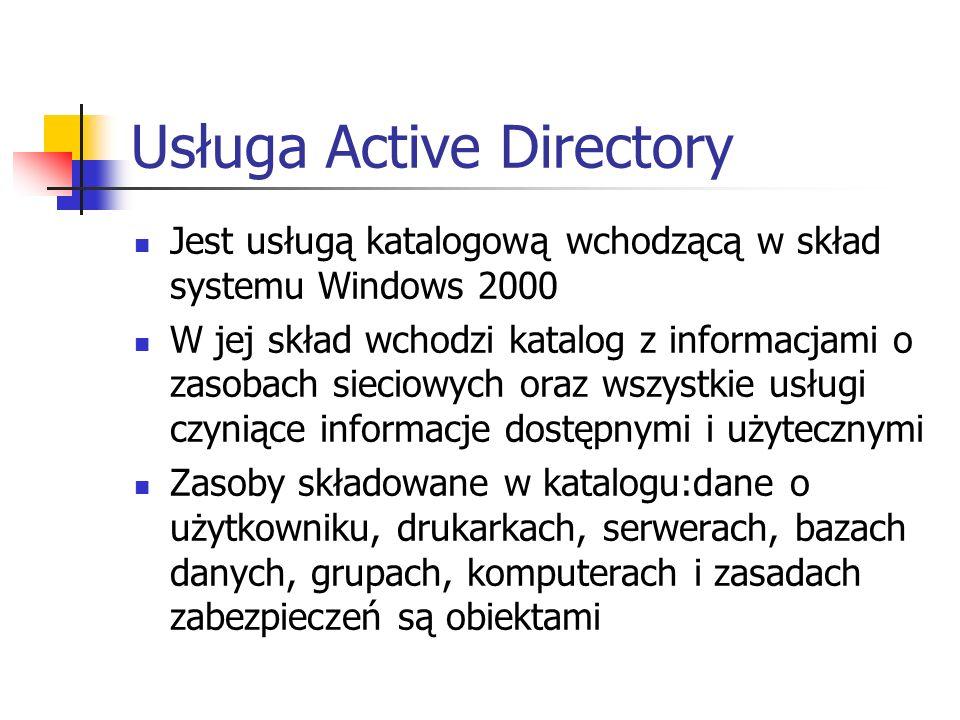 Usługa Active Directory Jest usługą katalogową wchodzącą w skład systemu Windows 2000 W jej skład wchodzi katalog z informacjami o zasobach sieciowych