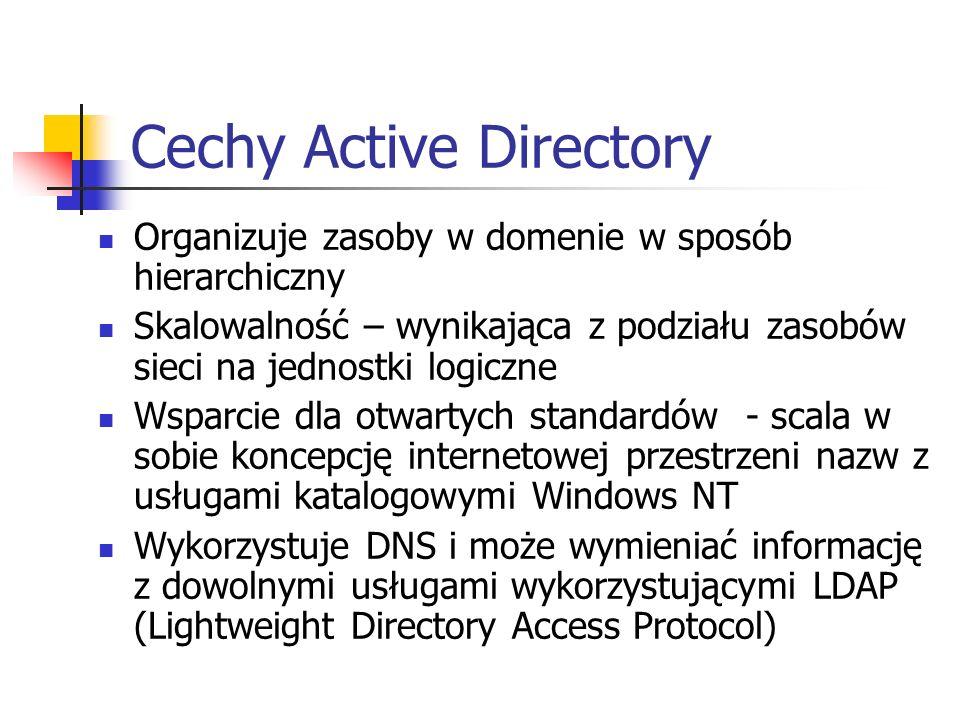 Cechy Active Directory Organizuje zasoby w domenie w sposób hierarchiczny Skalowalność – wynikająca z podziału zasobów sieci na jednostki logiczne Wsp