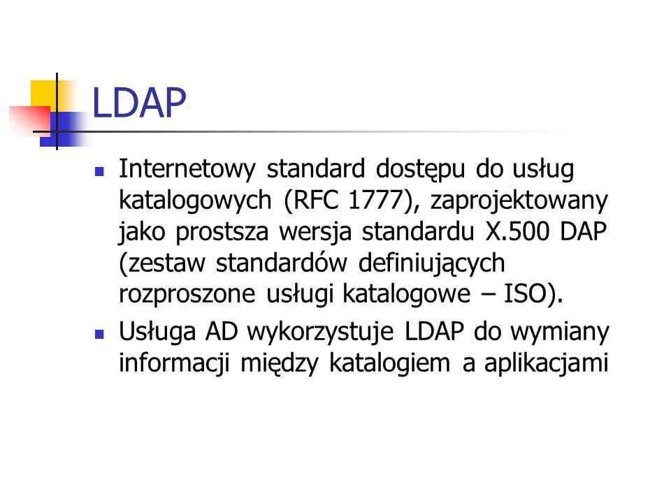 LDAP Internetowy standard dostępu do usług katalogowych (RFC 1777), zaprojektowany jako prostsza wersja standardu X.500 DAP (zestaw standardów definiu