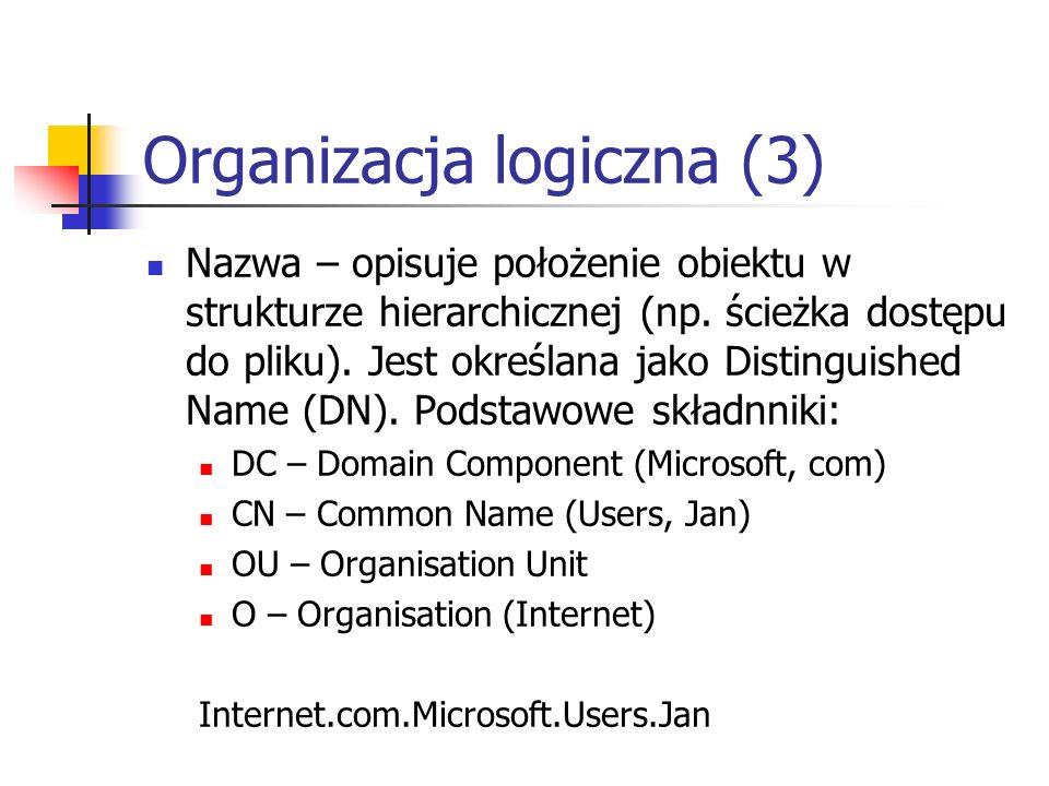 Organizacja logiczna (3) Nazwa – opisuje położenie obiektu w strukturze hierarchicznej (np. ścieżka dostępu do pliku). Jest określana jako Distinguish
