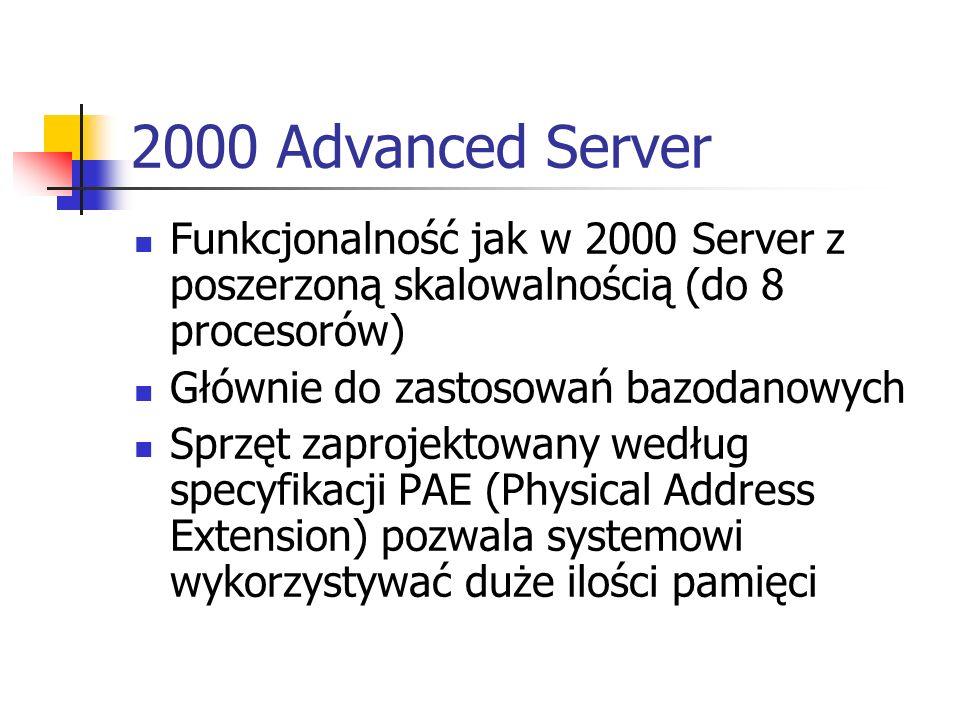 2000 Datacenter Server Zaprojektowany z myślą o obsłudze hurtowni danych, analiz ekonometrycznych, naukowych i inżynieryjnych symulacji wielkiej skali Obsługuje przetwarzanie transakcji w trybie bezpośrednim (OLTP – On Line Transaction Processing) Stosowany przez dostawców usług internetowych (ISP Internet Service Provider) Obsługuje systemy wieloprocesorowe (16,32 procesorowe)