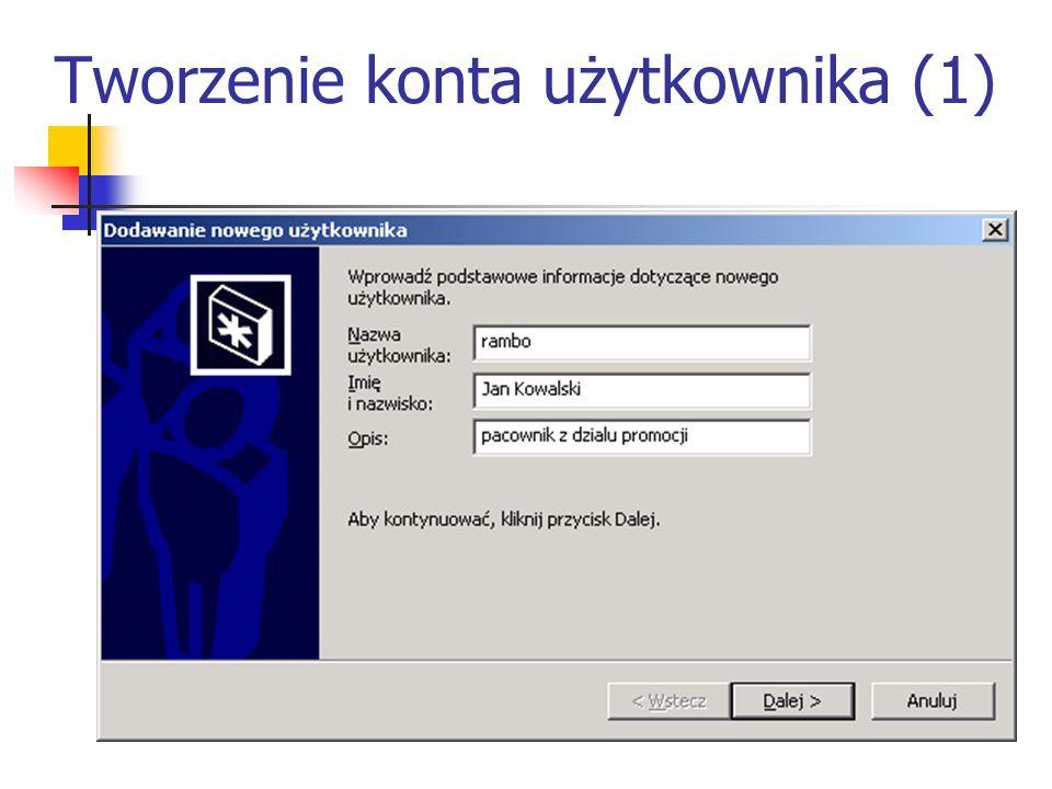 Tworzenie konta użytkownika (1)