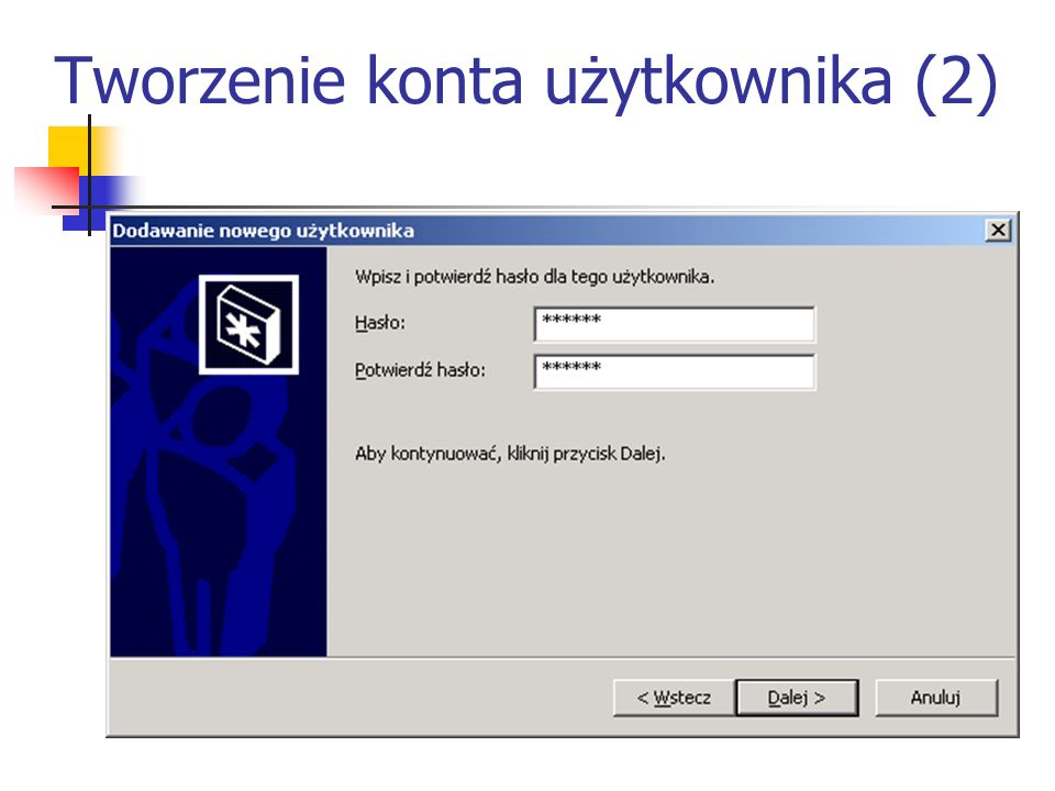 Tworzenie konta użytkownika (2)