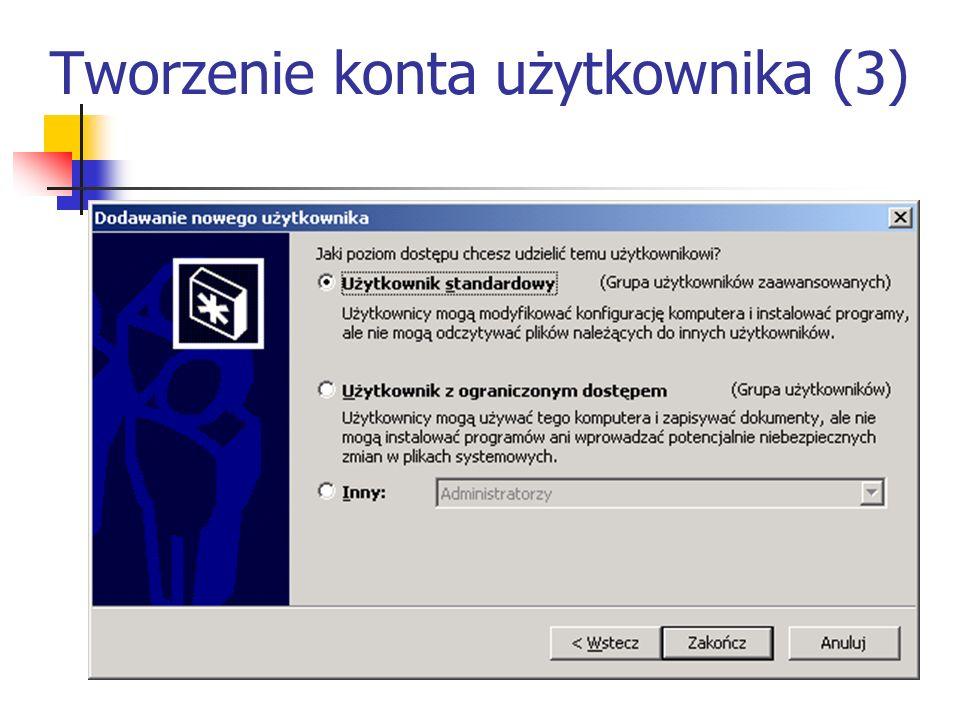 Tworzenie konta użytkownika (3)