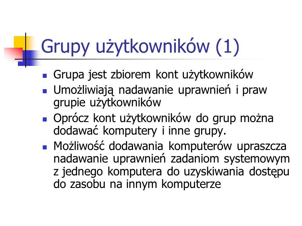 Grupy użytkowników (1) Grupa jest zbiorem kont użytkowników Umożliwiają nadawanie uprawnień i praw grupie użytkowników Oprócz kont użytkowników do gru