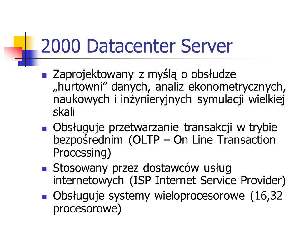 Domena Windows 2000 (1) Jest logiczną grupą komputerów w sieci współdzielących centralną, katalogową bazę danych Baza składa się z kont użytkowników, informacji o pozostałych zasobach w sieci oraz zabezpieczeniach w domenie W Windows 2000 katalogowa baza danych nazywa się katalogiem i jest częścią usług obsługujących bazę danych Active Directory W domenie katalog znajduje się na komputerach skonfigurowanych jako kontrolery domeny