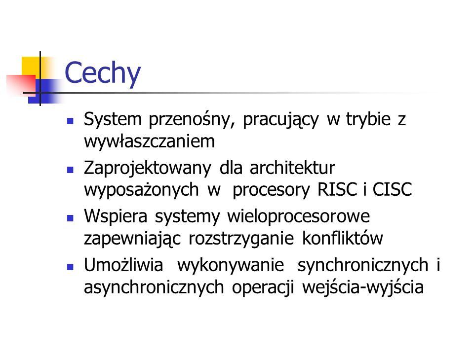 Cechy System przenośny, pracujący w trybie z wywłaszczaniem Zaprojektowany dla architektur wyposażonych w procesory RISC i CISC Wspiera systemy wielop
