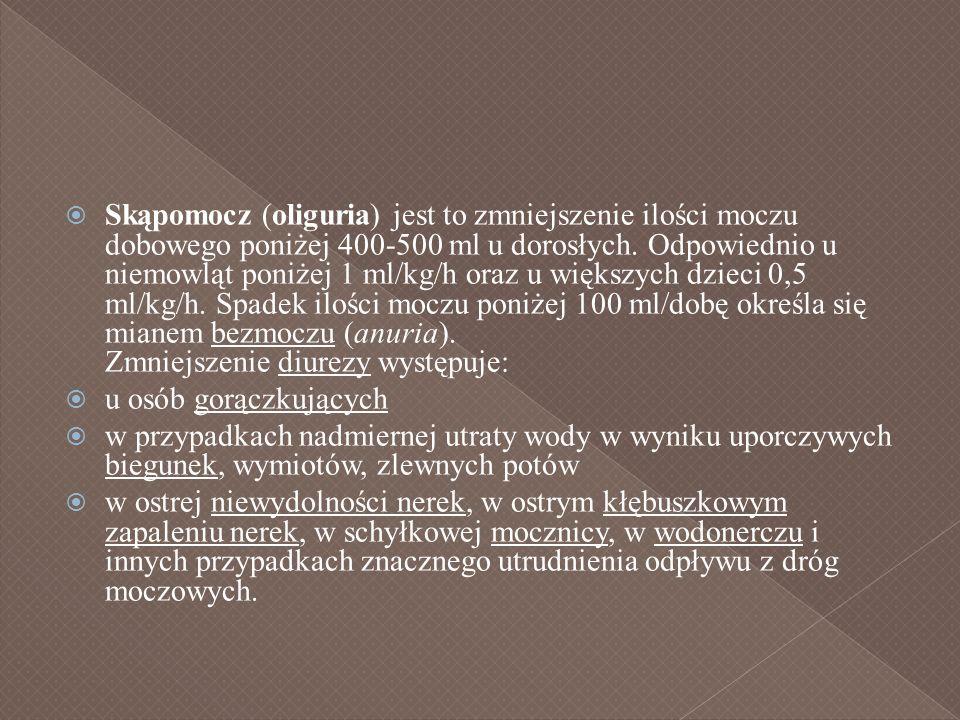 Skąpomocz (oliguria) jest to zmniejszenie ilości moczu dobowego poniżej 400-500 ml u dorosłych. Odpowiednio u niemowląt poniżej 1 ml/kg/h oraz u więks