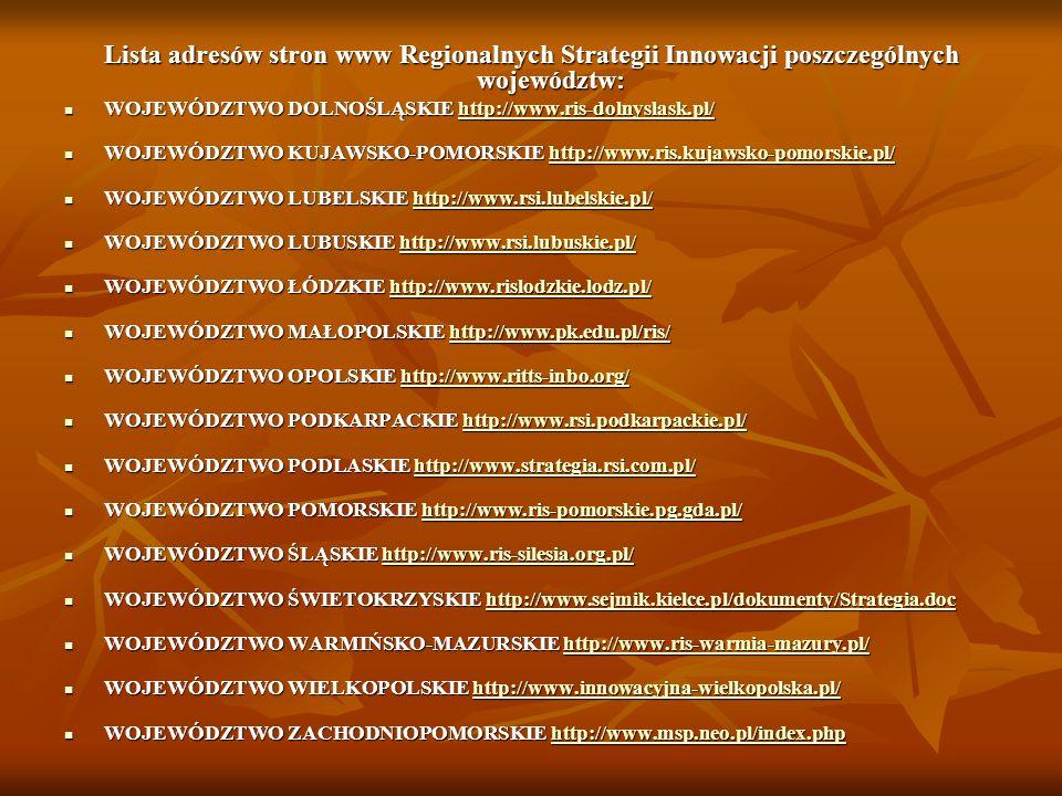 Lista adresów stron www Regionalnych Strategii Innowacji poszczególnych województw: WOJEWÓDZTWO DOLNOŚLĄSKIE http://www.ris-dolnyslask.pl/ WOJEWÓDZTWO