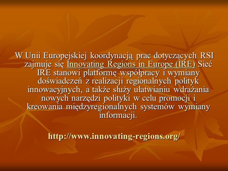 W Unii Europejskiej koordynacją prac dotyczących RSI zajmuje się Innovating Regions in Europe (IRE) Sieć IRE stanowi platformę współpracy i wymiany do