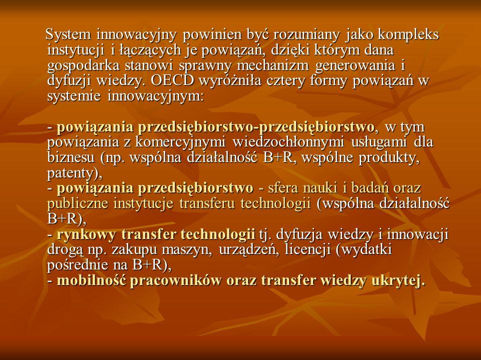 System innowacyjny powinien być rozumiany jako kompleks instytucji i łączących je powiązań, dzięki którym dana gospodarka stanowi sprawny mechanizm ge
